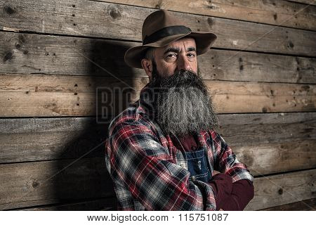 Vintage Worker Man With Long Gray Beard In Jeans Dungarees. Standing In Front Of Wooden Wall.