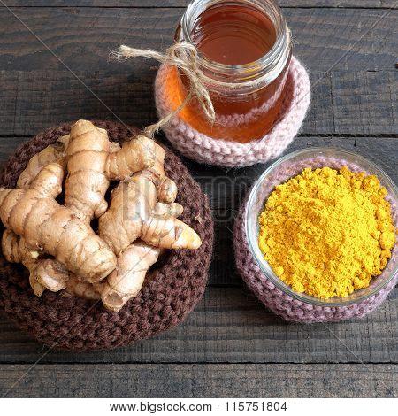 Turmeric Powder, Honey, Healthy Food, Cosmetic