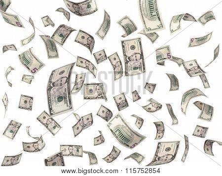 5 Dollar Bills Flying On White Background
