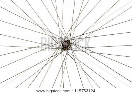 Old Wheel Of Bicycle Spoke Detail Isolated Background.