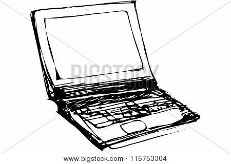 Vector Sketch Of An Open Laptop