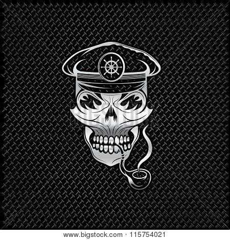 Silver Smoking Captain Skull With Tobacco Pipe On Metal Background