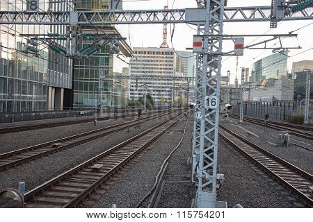 Tokyo, Japan - December 05, 2015 : View Of Trak Of Shinkansen Bullet Train At Tokyo Station, Japan
