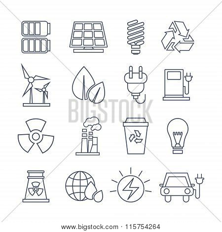 Hand Drawn Eco Energy Icons Set