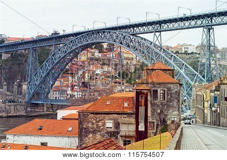 Douro River And The Dom Luis I Bridge In Porto, Portugal. Unesco