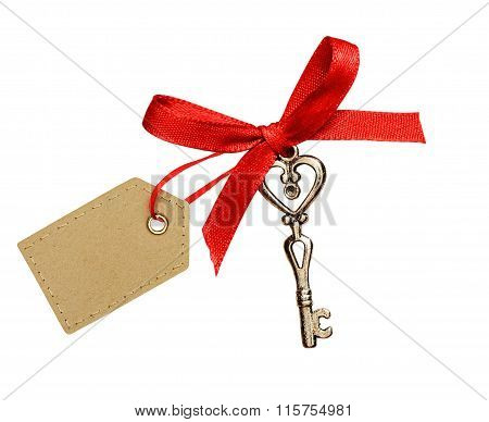 Red Ribbon, Glitter Heart And A Key