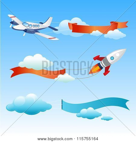 Plane and Rocket with Long Danners for Text on a Background of Sky