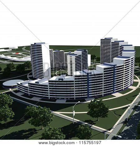 Residential Complex 3D Render