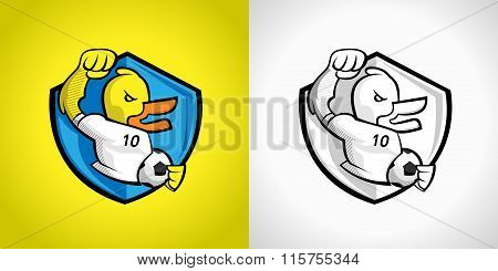 Duck Footballer Character Design With Armshield Logo