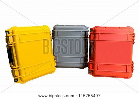 Hard Case Plastic Protect Water Resistant Equipment isolated on white