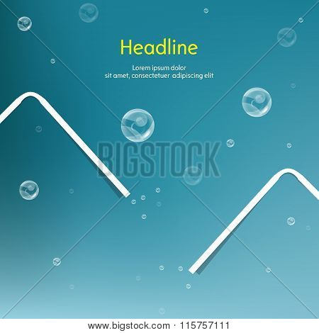 Bubbles with straw on blue background