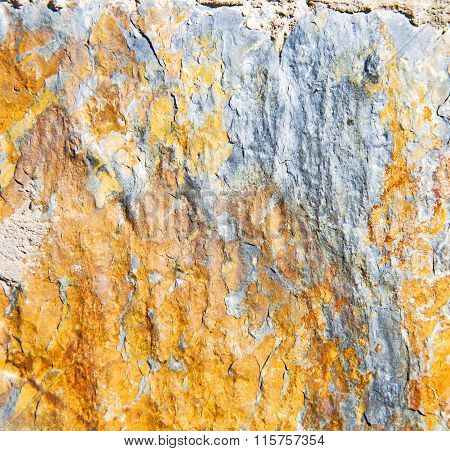 Rocks Stone And Red Orange Gneiss In The Wall Of Morocco