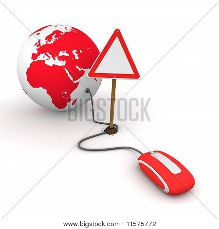 Surfing The Web In Red - Blocked By A Triangular Warning Sign