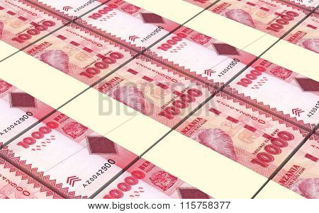 Tanzanian shilling bills stacks background. Computer generated 3D photo rendering.