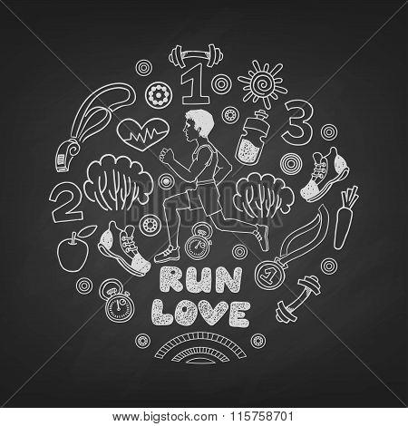 Love run man vector