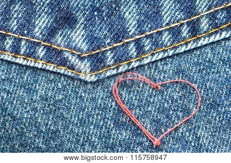 Heart on jeans.