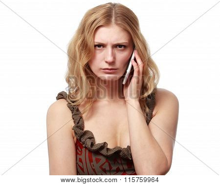 Woman Talking On The Phone, She Is Angry And Disappointed