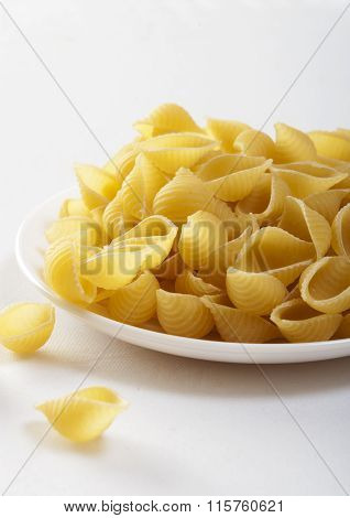 pasta close up on white with withe plate