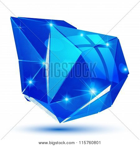 Vector Futuristic Object With Sparkling Effect, Dimensional Textured Deformed Figure Isolated On Whi