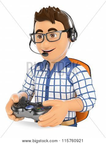 3D Young Gamer Playing Console Online Game