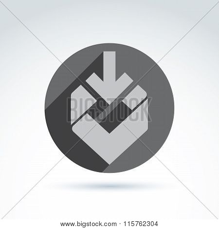 Vector Abstract Design Element, Grey Geometric Symbol With Down Arrow And A Checkmark Placed In A Ci