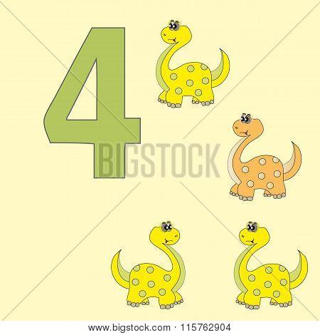 Number 4. Four Dinosaur (brachiosaurus).