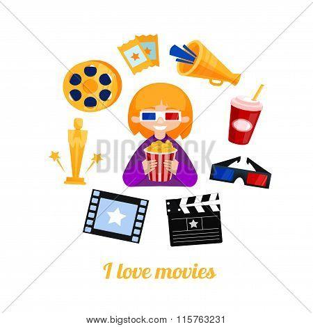 Moviegoer girl cinema icons vector set.