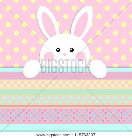 Greeting card with with white Easter rabbit. Funny bunny. Easter Bunny.