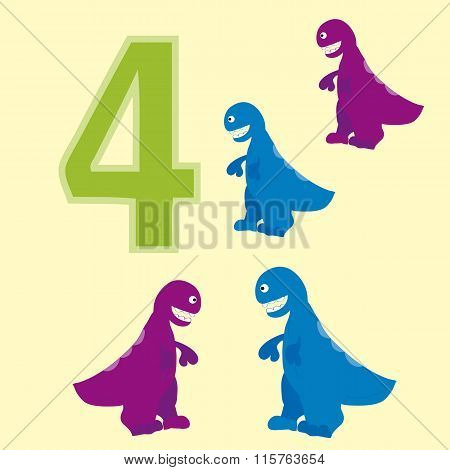 Number 4. Four Dinosaur (tyrannosaurus ).