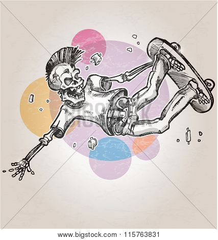 skeleton skater cartoon  on abstract retro background