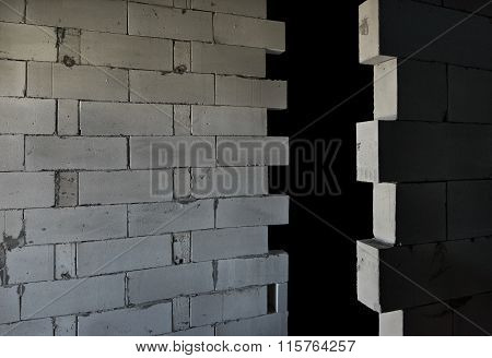Raw AAC autoclaved aerated concrete walls, editable background.