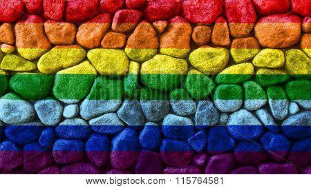 LGBT flag, rainbow flag painted on stone
