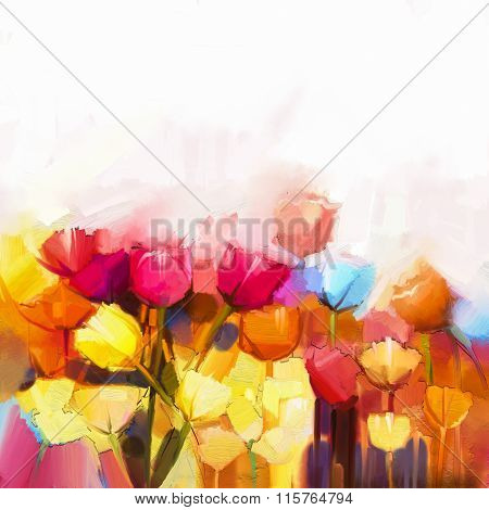 Oil Painting Yellow, Pink And Red Tulips Flowers Field