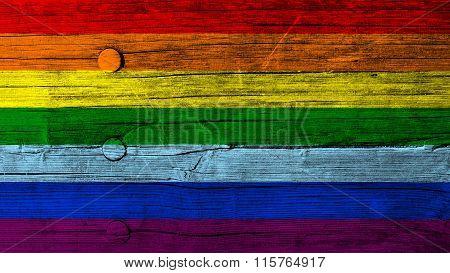 LGBT flag, rainbow flag painted on wood