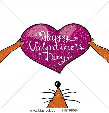 valentine card with lettering in heart. Happy valentines day