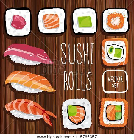 Set of sushi rolls on wooden background. Japanese Food. Vector Illustration.