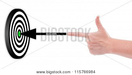 Hand Shooting Success To A 3D Target Concept.