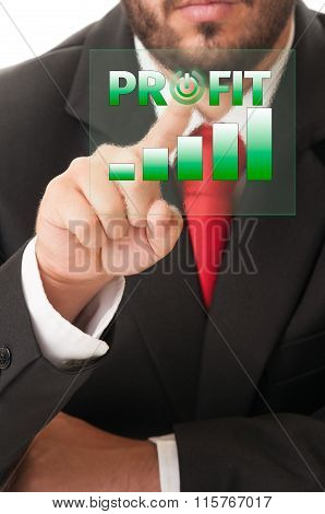 Business Man Click Button To Activate Profit Chart Or Bars.