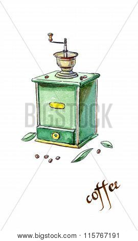 Antique Coffee Grinder And Coffee Beans With Leaves
