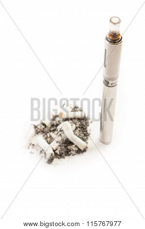 Electronic Cigarette Versus Dirty Smelly Normal Cigarette Butts.