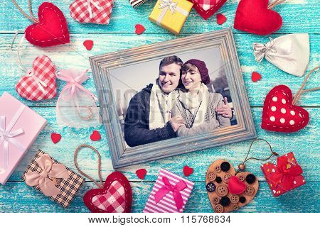 Mock Up Template Frame For Valentine's Day With Heart Shapes. Happy Young Couple In Picture Fram
