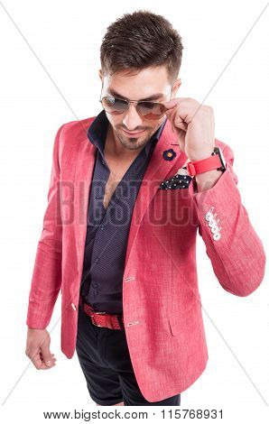 Funky Fashion Man Wearing Pink Jacket, Shorts And Sunglasses.
