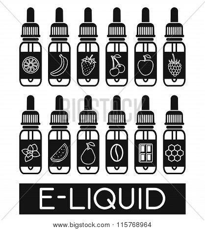 Vector Icons Of  E-liquid