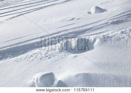 Traces From Skiing On Snow.