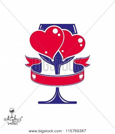 Vector Art Illustration Of Wineglass With Two Loving Hearts – Wedding Couple Concept. Alcohol Theme