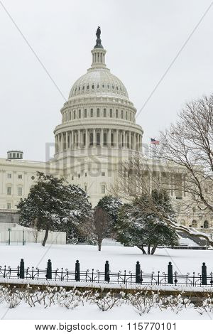 Washington DC in Winter - United States Capitol Building in snow