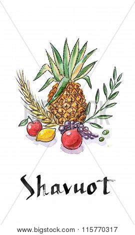 Shavuot Holiday Symbols.