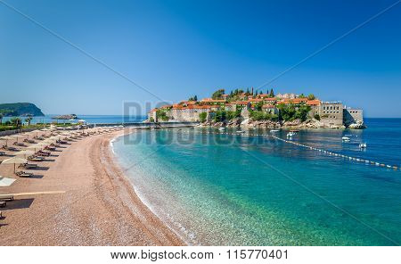 Sveti Stefan luxury touristic resort landscape