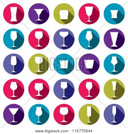 Classic goblets collection vector martini wineglass cognac and whiskey. Alcohol theme illustrations.