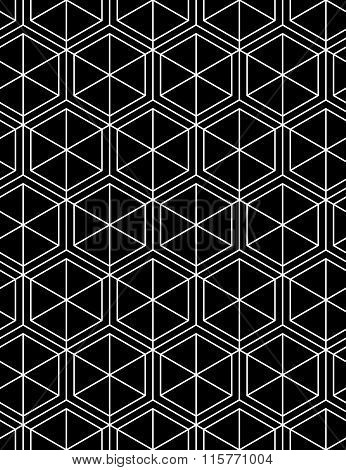 Monochrome Abstract Textured Geometric Seamless Pattern With Geometric Figures. Vector